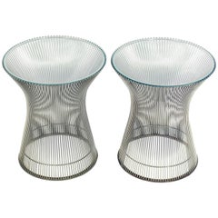 Pair of Sculptural Chrome Tables by Warren Platner for Knoll
