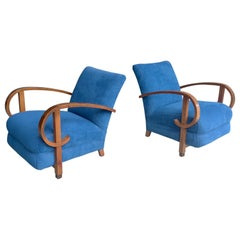Pair of Sculptural Curved Walnut Deco Armchairs in Blue Fabric, France, 1940s