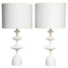 Pair of Sculptural Custom Plaster Table Lamps