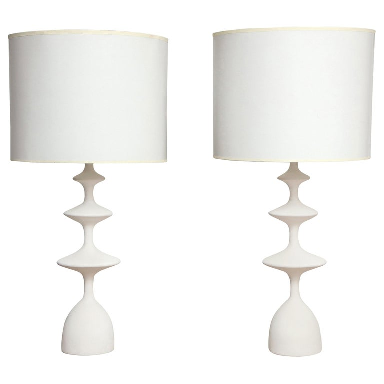 Pair of Sculptural Custom Plaster Table Lamps For Sale