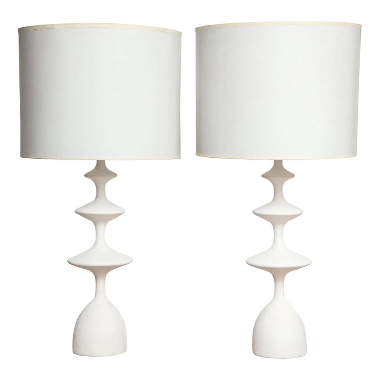 Pair of sculptural custom plaster table lamps. The lamp shades are not included. Please note that these lamps are customizable. The lead time is between 6 and 8 weeks.