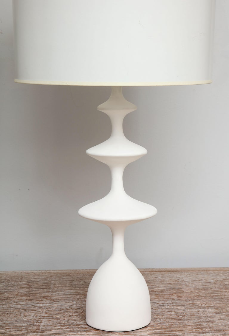 North American Pair of Sculptural Custom Plaster Table Lamps For Sale
