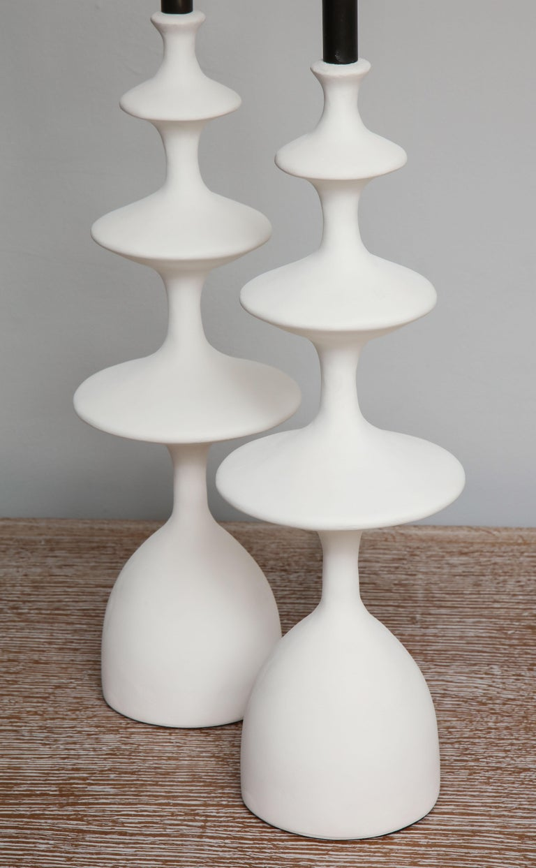 Contemporary Pair of Sculptural Custom Plaster Table Lamps For Sale