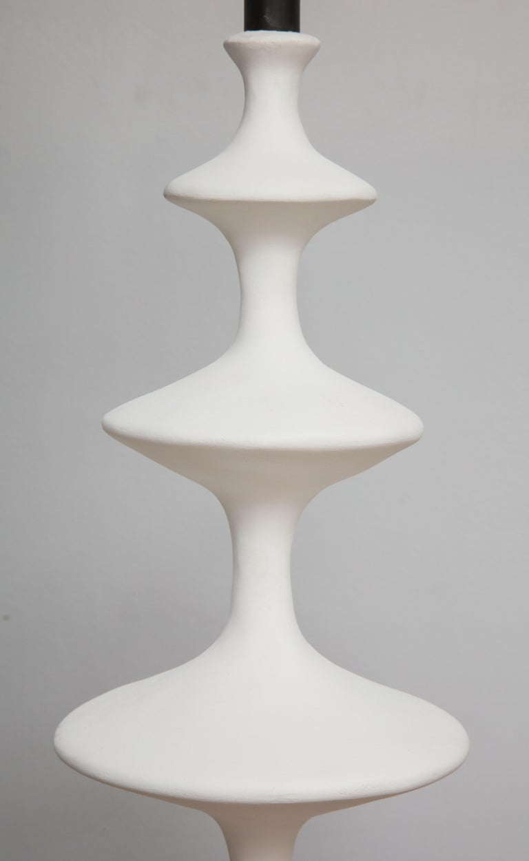 Pair of Sculptural Custom Plaster Table Lamps For Sale 1