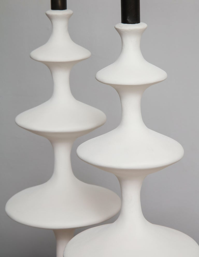 Pair of Sculptural Custom Plaster Table Lamps For Sale 2