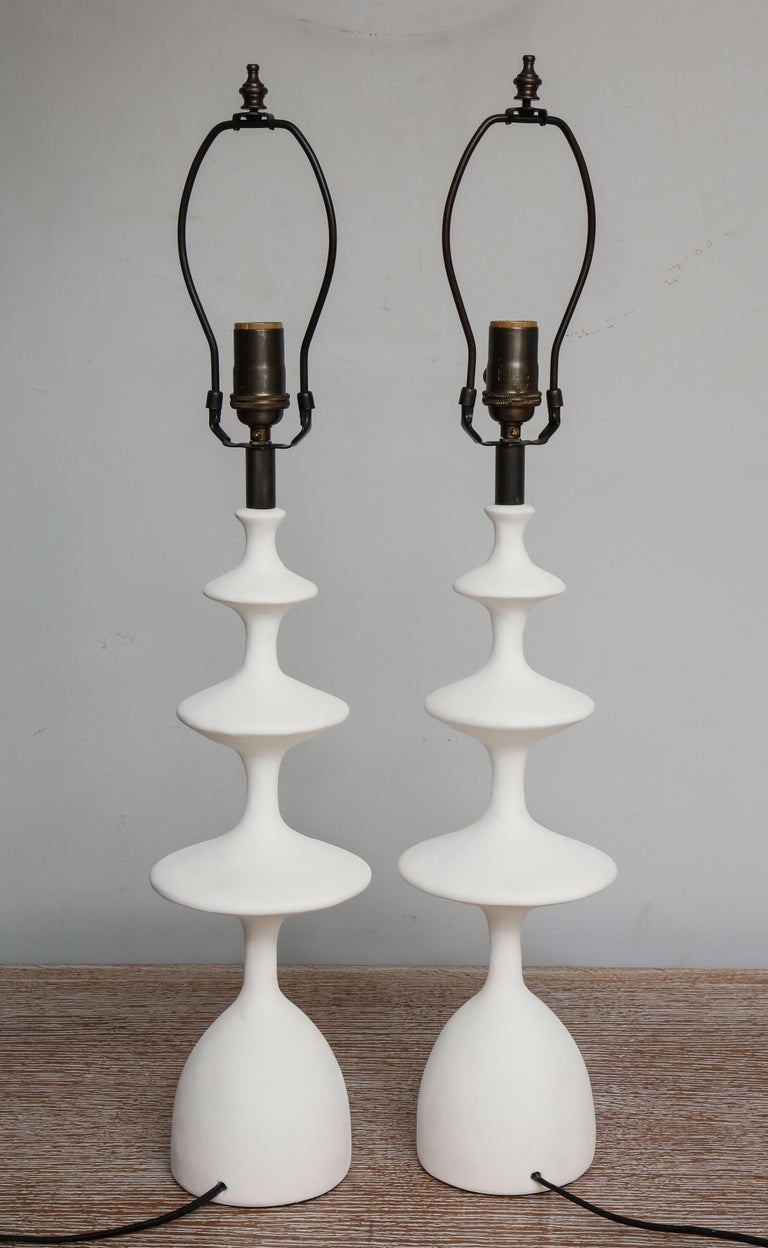 Pair of Sculptural Custom Plaster Table Lamps For Sale 3