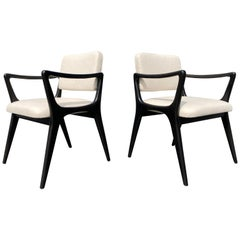 Pair of Sculptural Ebonized Armchairs in the Style of Gio Ponti