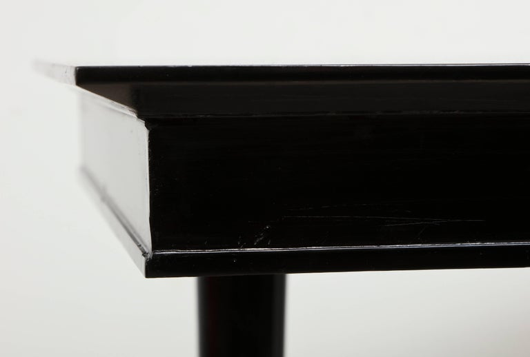Pair of Sculptural Ebonized Consoles on Tripod Base with Bronze Stretchers For Sale 3