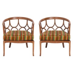 Pair of Sculptural Fret Back Chairs by Tomlinson