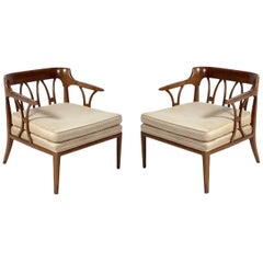 Pair of Sculptural Fret Back Lounge Chairs by Tomlinson