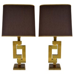 Pair of Sculptural Geometric Brass Table Lamps by Willy Rizzo for Romeo Rega