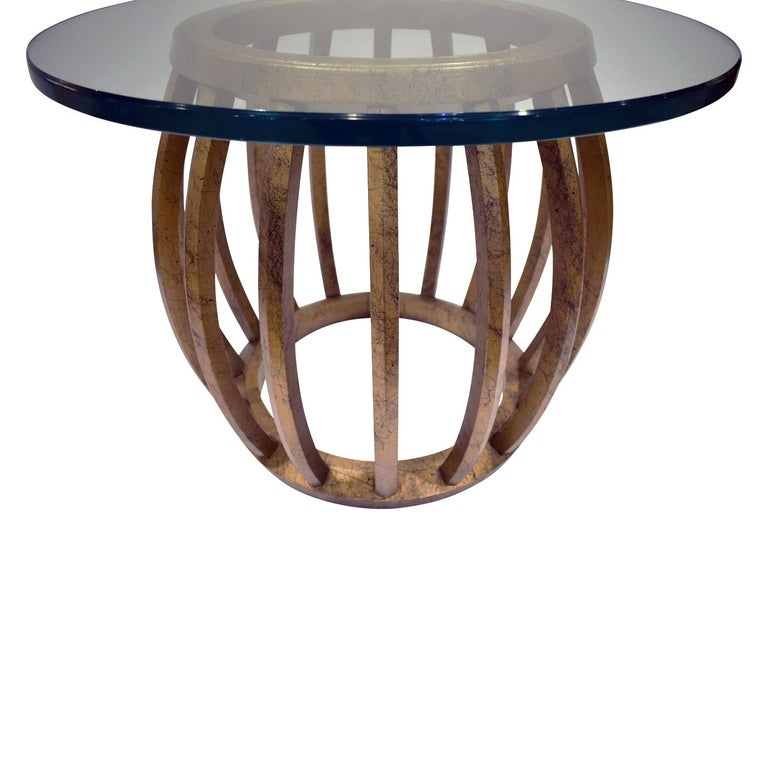 Mid-Century Modern Pair of Sculptural Gilded Wood Side Tables with Glass Tops, 1960s For Sale