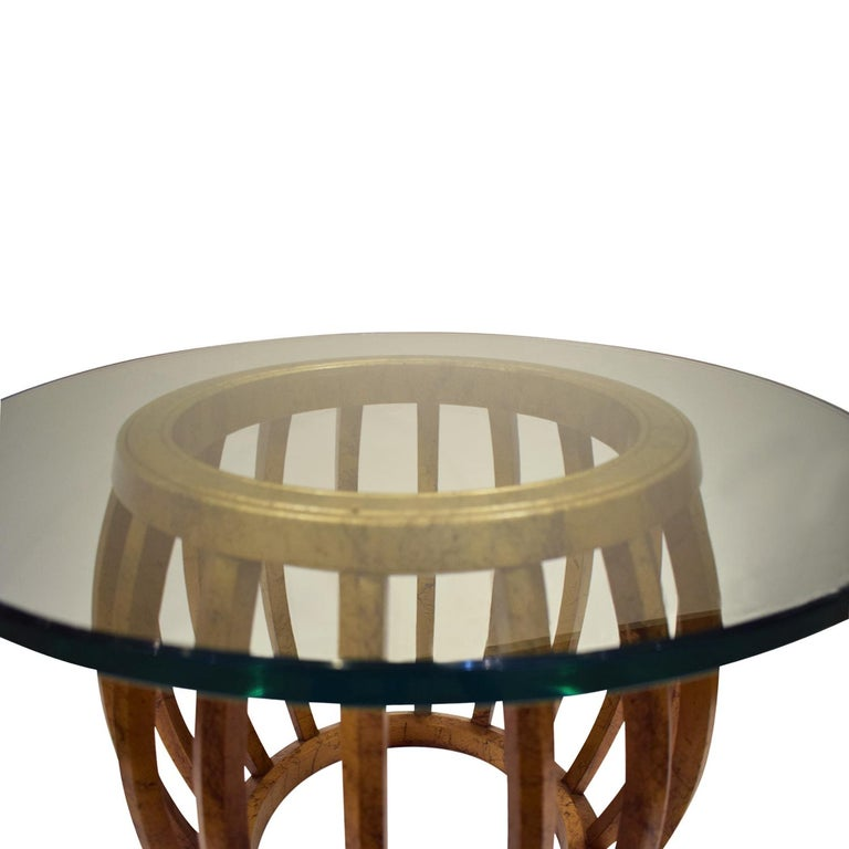 American Pair of Sculptural Gilded Wood Side Tables with Glass Tops, 1960s For Sale