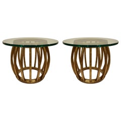 Pair of Sculptural Gilded Wood Side Tables with Glass Tops, 1960s