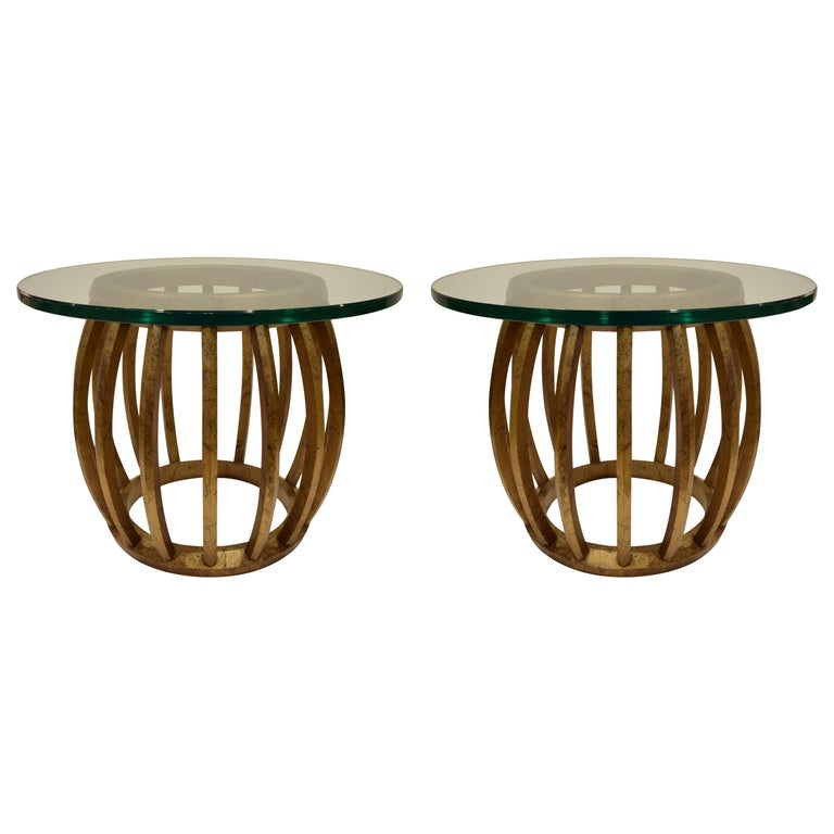 Pair of Sculptural Gilded Wood Side Tables with Glass Tops, 1960s For Sale