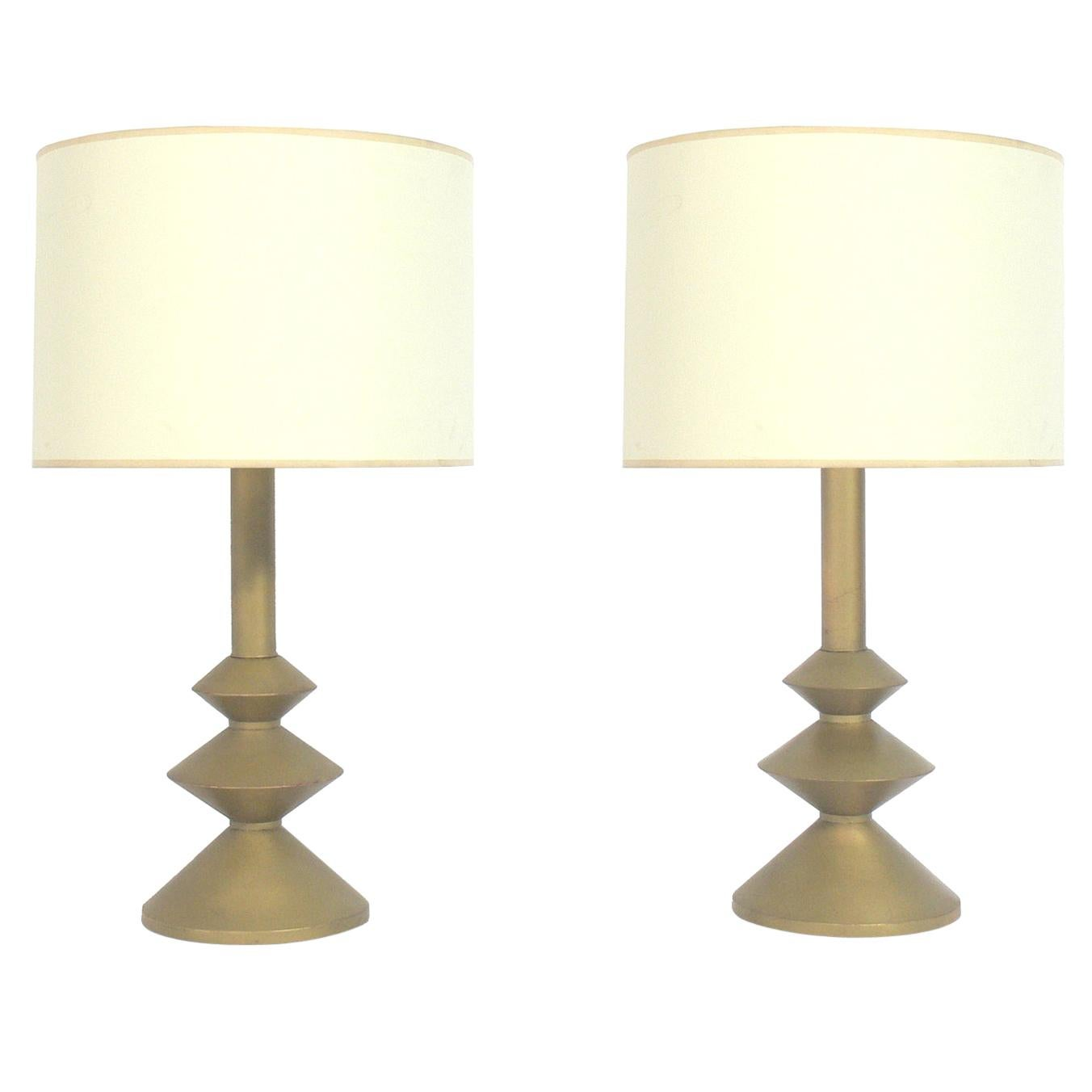 Pair of Sculptural Gold Leaf Lamps in the Manner of Giacometti
