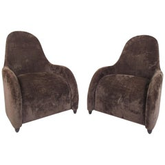 Pair of Sculptural High Back Lounge Chairs by Donghia