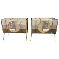 Pair of Sculptural Italian Glass and Brass Side Chests