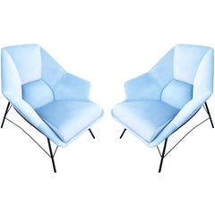 Pair of Sculptural Italian Lounge Chairs, 1960s