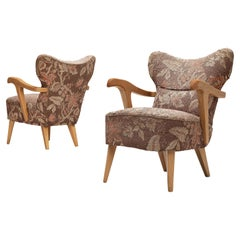 Pair of Sculptural Italian Lounge Chairs in Oak and Floral Upholstery