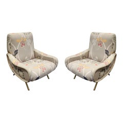 Pair of Sculptural Italian Lounge Chairs with Brass Legs, 1950s