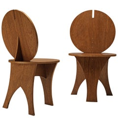 Pair of Sculptural Italian Side Chairs with Circular Backrest