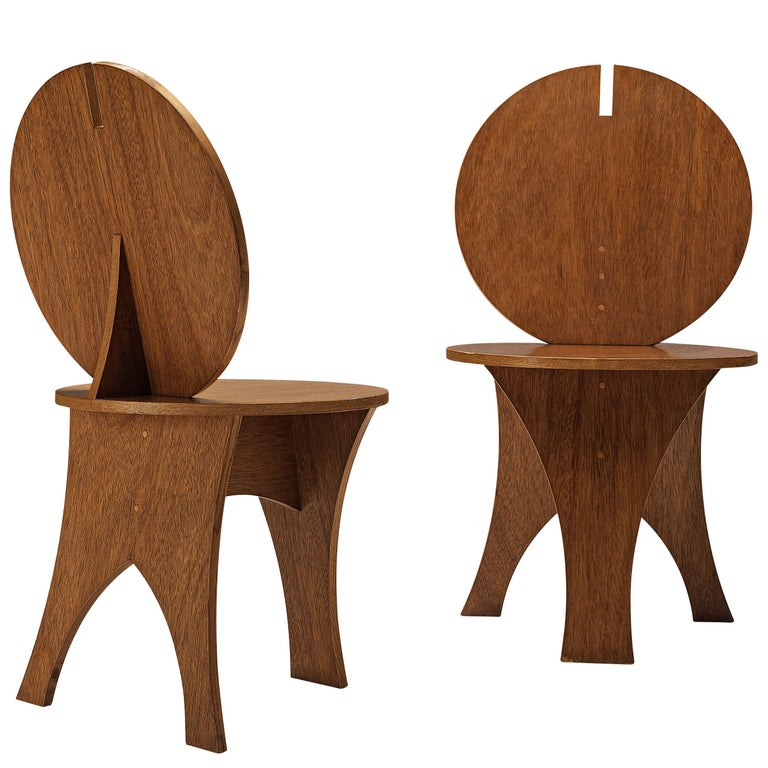 Pair of Sculptural Italian Side Chairs with Circular Backrest For Sale