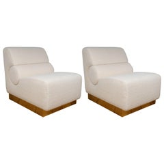 Pair of Sculptural Lounge Chairs in Ivory Boucle and Brass Base, Italy, 2019