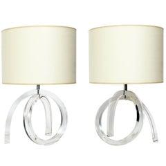 Pair of Sculptural Lucite Lamps