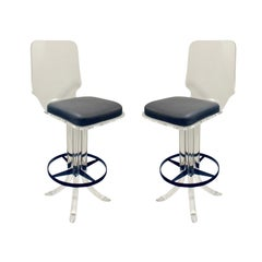 Pair of Sculptural Lucite Swivel Stools, 1970s