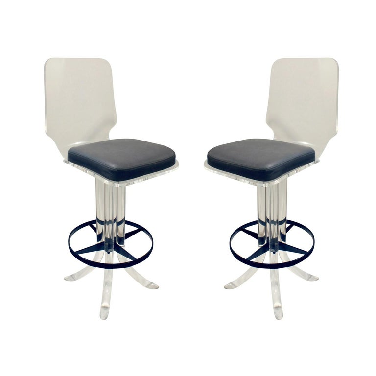Pair of Sculptural Lucite Swivel Stools, 1970s For Sale