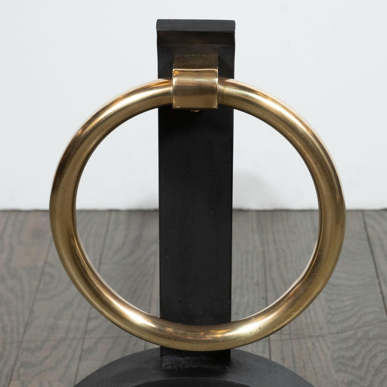 American Pair of Sculptural Mid-Century Modern Black Iron & Brass Ringed Andirons For Sale