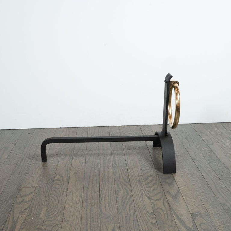 Mid-20th Century Pair of Sculptural Mid-Century Modern Black Iron & Brass Ringed Andirons For Sale