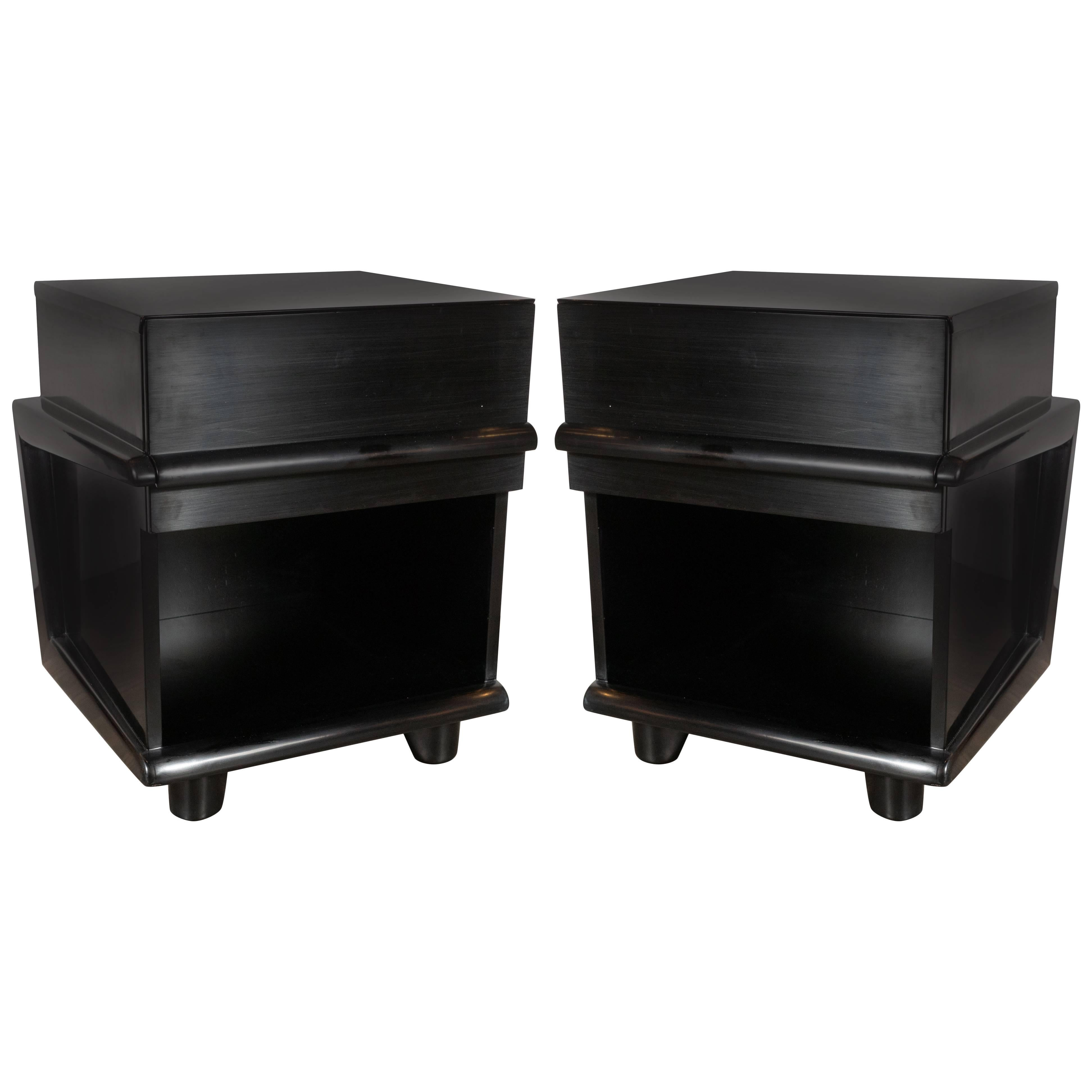 Pair of Sculptural Mid-Century Modern Ebonized Walnut Nightstands/ End Tables