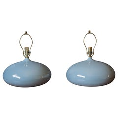 Pair of Sculptural Mid-Century Modern Round Gray Ceramic Table Lamps