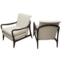 Pair of Sculptural Mid-Century Kagan Style Walnut and Leather Lounge Chairs