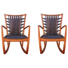 Pair of Sculptural Modern Handmade Cherrywood and Woven Leather Rocking Chairs