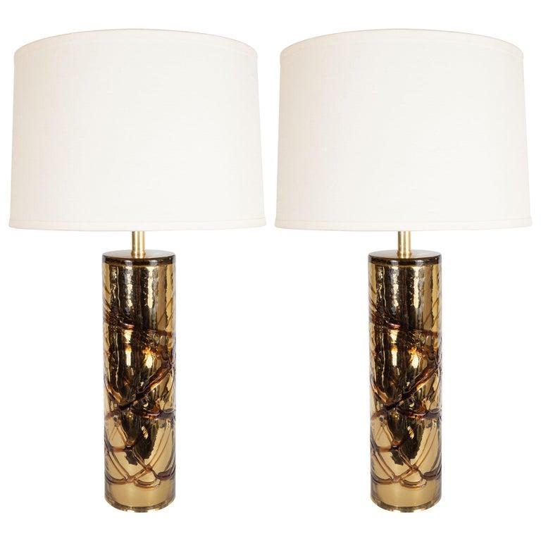 Pair Of Sculptural Modernist Handblown Murano Gold Mercury Glass
