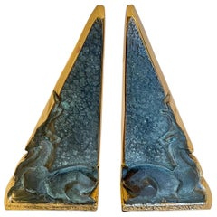 Pair of Sculptural Modernist Sandcast Bronze Bookends