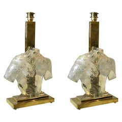 Pair of Sculptural Murano Glass and Brass Table Lamps