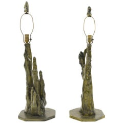 Pair of Sculptural Painted Cypress Root Table Lamps
