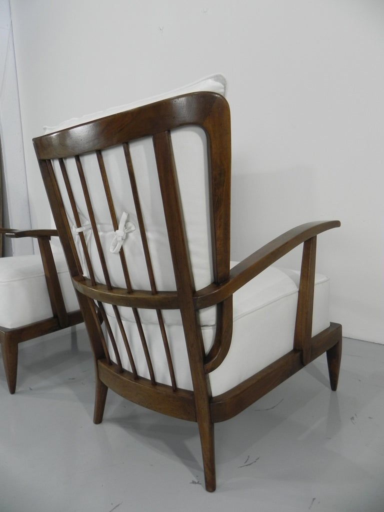 Pair of Sculptural Paolo Buffa Armchairs Italian Midcentury For Sale 5