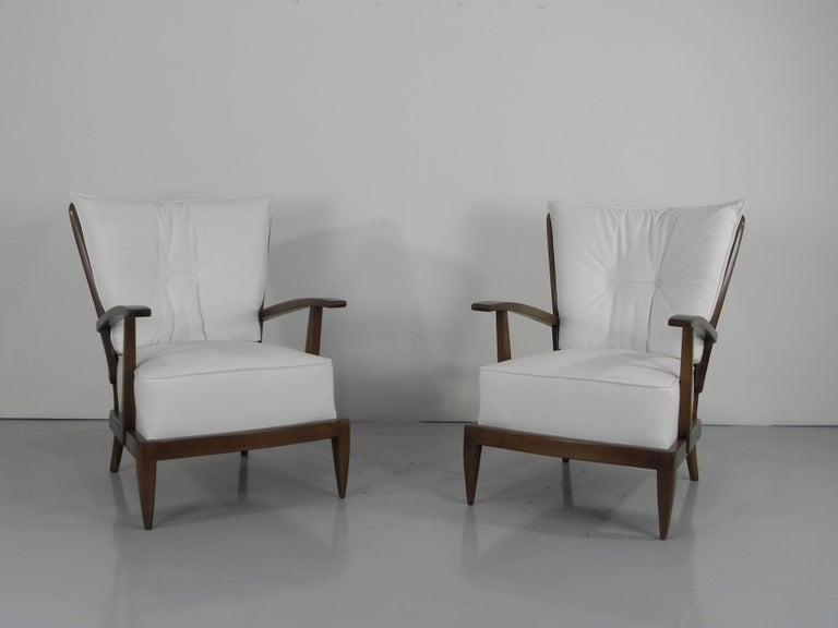 Mid-Century Modern Pair of Sculptural Paolo Buffa Armchairs Italian Midcentury For Sale