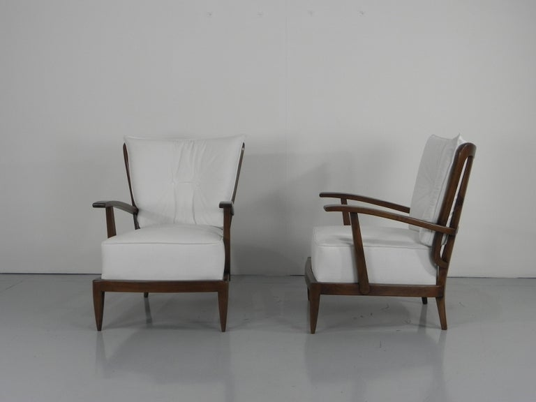 20th Century Pair of Sculptural Paolo Buffa Armchairs Italian Midcentury For Sale