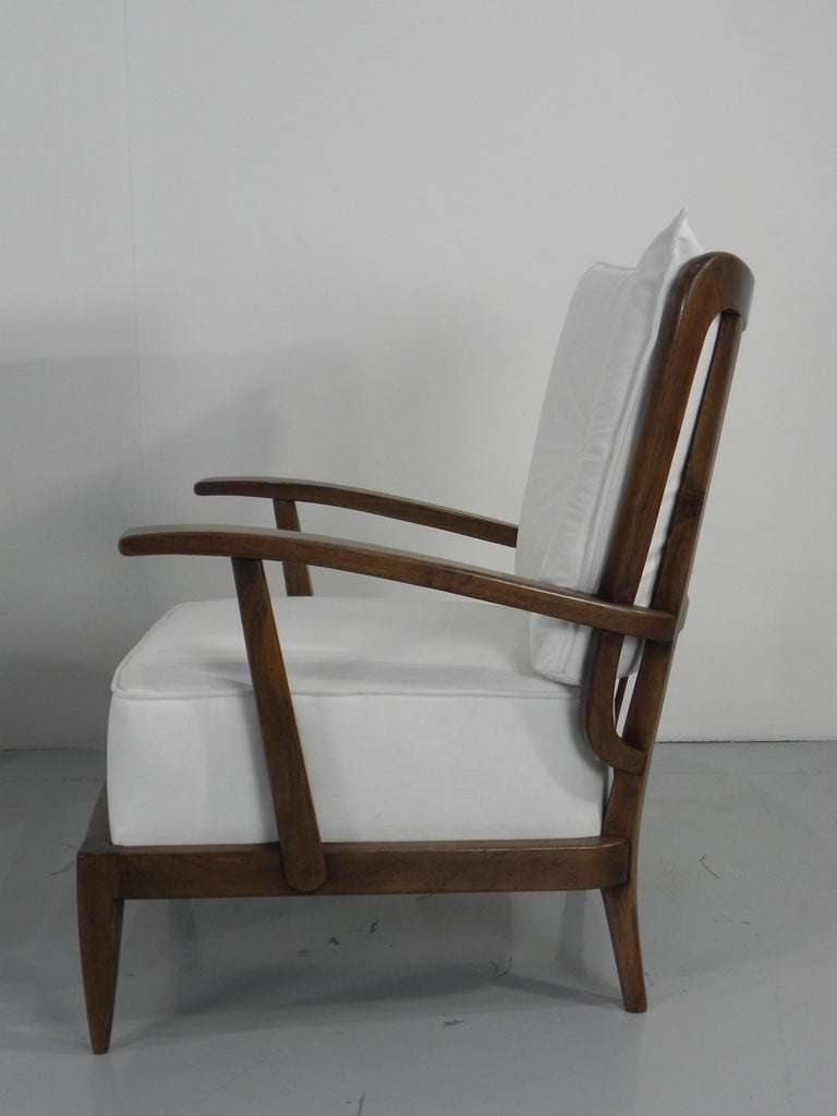 Walnut Pair of Sculptural Paolo Buffa Armchairs Italian Midcentury For Sale
