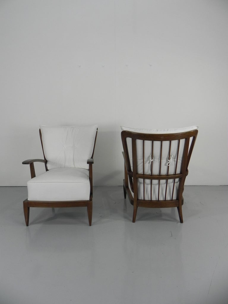 Pair of Sculptural Paolo Buffa Armchairs Italian Midcentury For Sale 2
