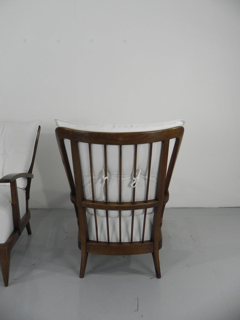 Pair of Sculptural Paolo Buffa Armchairs Italian Midcentury For Sale 3