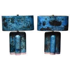 Pair of Sculptural Parchment Table Lamps
