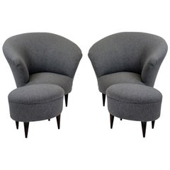 Pair of Sculptural Parisi Armchairs and Matching Foot Stools