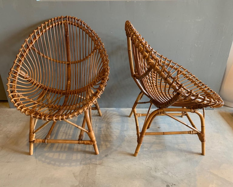 Italian Pair of Sculptural Rattan and Bamboo Chairs For Sale